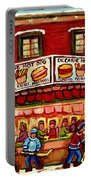 Decarie Hot Dog Restaurant Cosmix Comic Store Montreal Paintings Hockey Art Winter Scenes C Spandau Portable Battery Charger