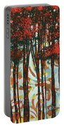 Decorative Abstract Floral Bird Landscape Painting Forest Of Dreams II By Megan Duncanson Portable Battery Charger by Megan Duncanson