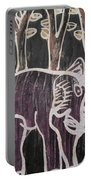 Deep Purple Elephant Painting In The Forest. Portable Battery Charger
