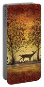 Deer At Sunset On Damask Portable Battery Charger