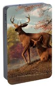 Deer On An Autumn Lakeshore  Portable Battery Charger