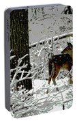 Deer On Snowy Trail Portable Battery Charger