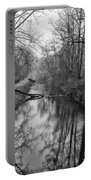 Delaware Canal In Black And White Portable Battery Charger