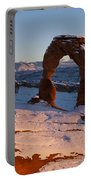 Delicate Arch With Snow At Sunset Arches National Park Utah Portable Battery Charger