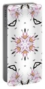 Delicate Cherry Blossom Fractal Kaleidoscope Portable Battery Charger