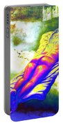 Delicious Babe Engulfed In Books Portable Battery Charger
