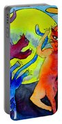 Demon Cats Dance By The Light Of The Moon Portable Battery Charger by Beverley Harper Tinsley