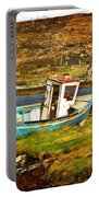 Derelict Fishing Boat On The Irish Coast Portable Battery Charger