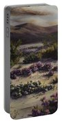 Desert In Bloom At Dusk Portable Battery Charger