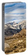 Desert View Of Majestic Mount Whitney Mountain Peaks With Clouds Portable Battery Charger