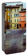 Deserted Street With Colored Houses In Parma Italy Portable Battery Charger