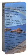 Desiderata On Beach Scene With Rainbow Portable Battery Charger