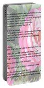 Desiderata On Garden Scene With Pink Roses Portable Battery Charger