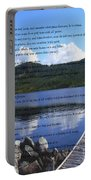 Desiderata On Pond Scene With Mountains Portable Battery Charger