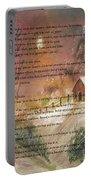 Desiderata On Snow Scene With Cabin Portable Battery Charger