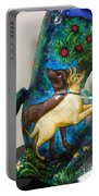 Detail Of Hunt For The Unicorn On A Full Moon Portable Battery Charger by Genevieve Esson
