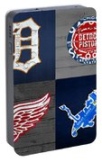 Detroit Sports Fan Recycled Vintage Michigan License Plate Art Tigers Pistons Red Wings Lions Portable Battery Charger