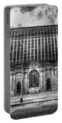 Detroit's Abandoned Michigan Central Train Station Depot In Black And White Portable Battery Charger