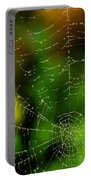 Dew Drops On Spider Web  Portable Battery Charger
