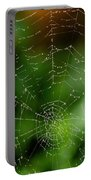 Dew Drops On Spider Web 3 Portable Battery Charger