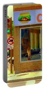 Dilallo Notre Dame Ouest And Charlevoix Sunny Street Montreal Urban City Scene Carole Spandau Portable Battery Charger