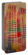 Dime Building Iconic Buildings Of Detroit Watercolor On Worn Canvas Series Number 1 Portable Battery Charger