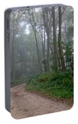 Dirt Path In Forest Woods With Mist Portable Battery Charger