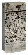 District Of Columbia War Memorial Inscription Portable Battery Charger