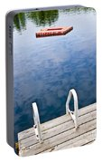 Dock On Calm Lake In Cottage Country Portable Battery Charger