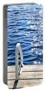 Dock On Summer Lake With Sparkling Water Portable Battery Charger