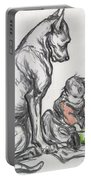 Dog And Child Portable Battery Charger by Robert Noir