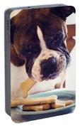 Dog Eating Biscuits At Table Portable Battery Charger