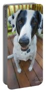 Dog On A Wooden Deck Portable Battery Charger