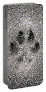 Dog Paw Print In Sand Portable Battery Charger