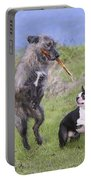 Dogs Playing With Stick Portable Battery Charger