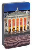 Dona Maria II National Theater At Night In Lisbon Portable Battery Charger