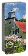 Door County Eagle Bluff Lighthouse Lilacs Portable Battery Charger by Christopher Arndt