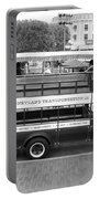 Double Decker Bus Main Street Disneyland Bw Portable Battery Charger