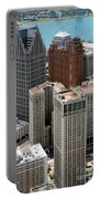 Downtown Aerial Of Detroit Michigan Portable Battery Charger
