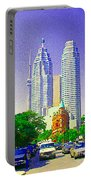 Downtown Core Flatiron Building And Cn Tower Toronto City Scenes Paintings Canadian Art Cspandau Portable Battery Charger