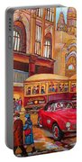 Downtown Montreal-streetcars-couple Near Red Fifties Mustang-montreal Vintage Street Scene Portable Battery Charger