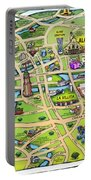 Downtown San Antonio Texas Cartoon Map Portable Battery Charger