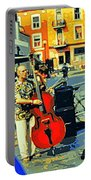 Downtown Street Musicians Perform At The Coffee Shop With Cool Tones On A Hot Summer Day Portable Battery Charger