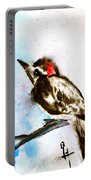 Downy Woodpecker Sumi-e Portable Battery Charger