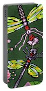 Dragonflies And Water Lilies Portable Battery Charger