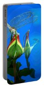 Dragonfly And Bud On Blue Portable Battery Charger