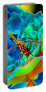 Dragonfly On A Cosmic Rose Portable Battery Charger