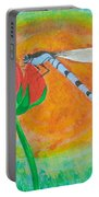 Dragonfly On Red Flower Portable Battery Charger
