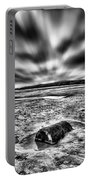 Drama At Freshwater West Mono Portable Battery Charger