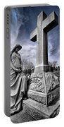 Dramatic Gravestone With Cross And Guardian Angel Portable Battery Charger